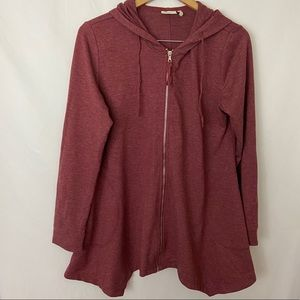 LOGO Maroon Handkerchief Hem Hooded Sweatshirt M
